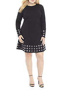 Plus Size Grommet Embellished Flare Dress