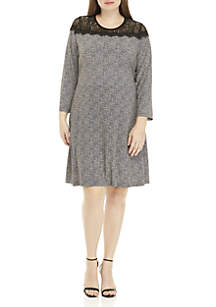 Plus Size Tweed Lace Dress