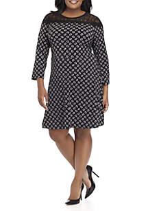 Plus Size Foulard Print Lace Dress