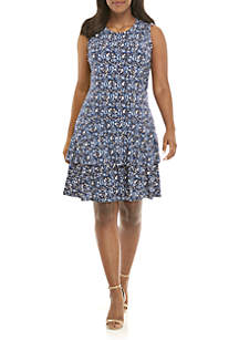 Plus Size Woodblock Paisley Sleeveless Flounce Dress