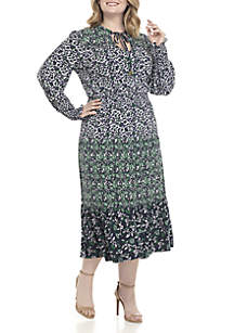 Plus Size Ellip Print Dress