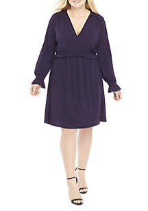 Plus Size V-Neck Long Sleeve Shirt Dress