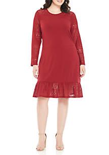 Plus Size Fabric Mix Long Sleeve Dress