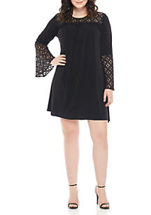 Plus Size Lace Inset Bell Sleeve Dress