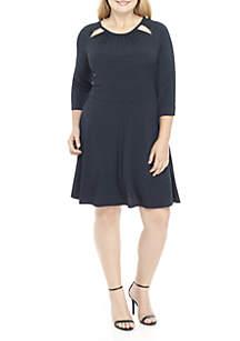 Plus Size Three-Quarter Sleeve Sun Dot Dress