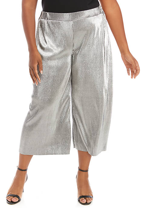 Plus Size Metallic Pleated Soft Pants