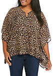 Plus Size Cheetah Hardware Poncho Top