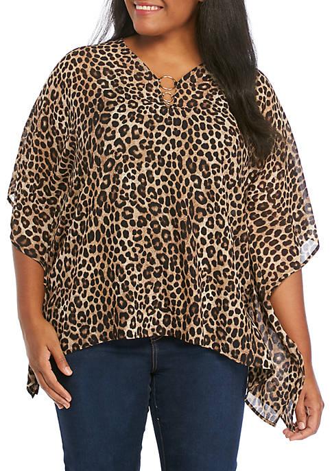 MICHAEL Michael Kors Plus Size Cheetah Hardware Poncho