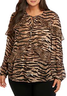 MICHAEL Michael Kors Plus Size Ruffle Mixed Animal Print Blouse