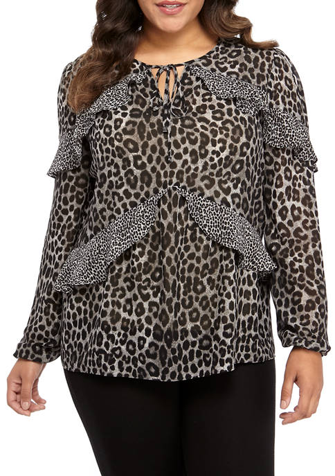 MICHAEL Michael Kors Plus Size Mix Cheetah Blouse