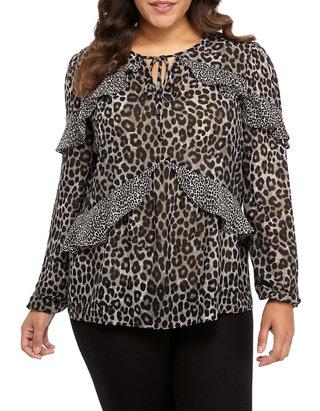 Plus Size Mix Cheetah Blouse