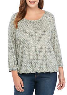 MICHAEL Michael Kors Plus Size Bold Tile Peasant Knit Top
