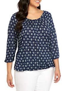MICHAEL Michael Kors Plus Size Foulard Knit Peasant Top