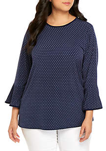 MICHAEL Michael Kors Plus Size Mini Dot Flare Sleeve Knit Top