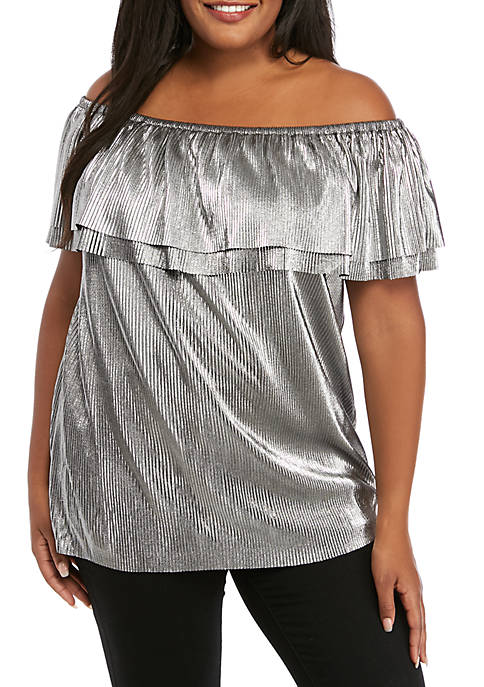 Plus Size Metallic Pleated Off the Shoulder Top