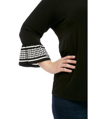 Plus Size Dot Flare Sleeve Knit Blouse