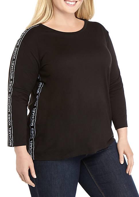 MICHAEL Michael Kors Plus Size Logo Tape Top