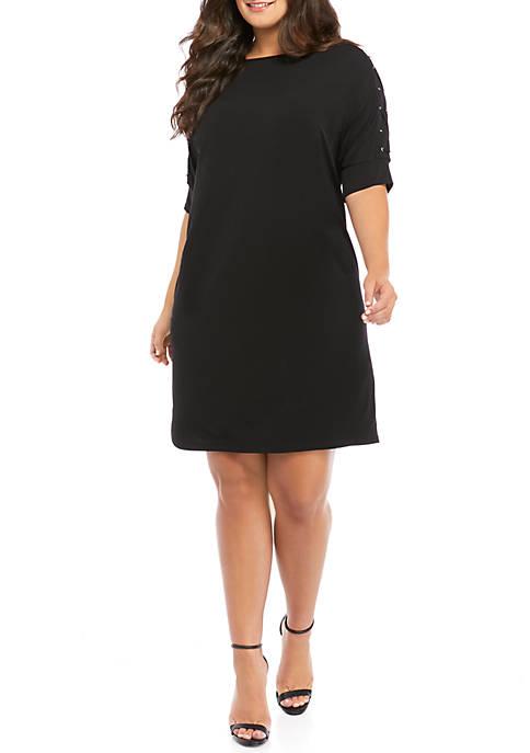 Plus Size Grommet Dolman Sleeve Dress