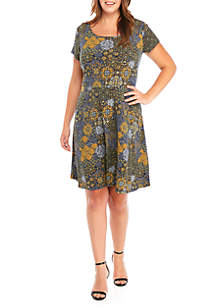 MICHAEL Michael Kors Plus Size Patchwork Fit and Flare Dress