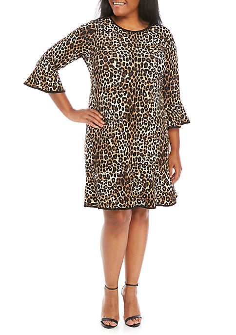 MICHAEL Michael Kors Plus Size Cheetah Flounce Hem