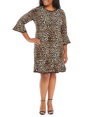 Plus Size Cheetah Flounce Hem Dress