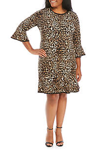MICHAEL Michael Kors Plus Size Cheetah Flounce Hem Dress