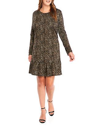 Plus Size Textured Tiger Flounce Hem Dress