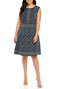 MICHAEL Michael Kors Plus Size Mix Tile Print Dress
