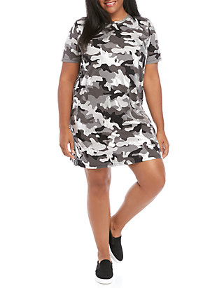 Plus Size Camo Logo Tape Dress
