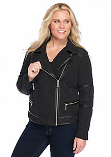 f3ece9d03d4 MICHAEL Michael Kors. MICHAEL Michael Kors Plus Size Moto Jacket with Faux  Leather Trim