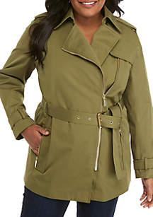 MICHAEL Michael Kors Plus Size Zip Front Trench Coat