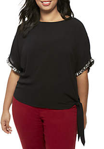 Plus Size Sequin Sleeve Side Tie Blouse