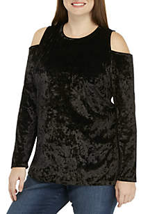 Plus Size Velvet Cold Shoulder Knit Top