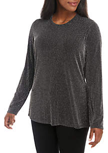 Plus Size Sparkle Stripe Fitted Knit Top