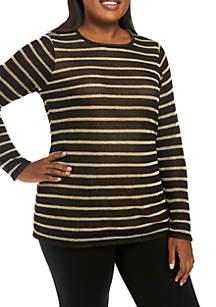 Plus Size Long Sleeve Stripe Top