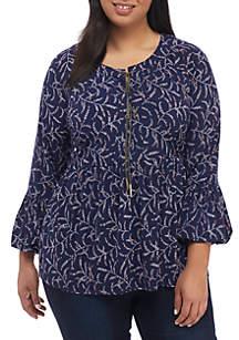 MICHAEL Michael Kors Plus Size Flower Print Lace-Up Top