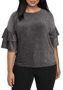 Plus Size Lurex Double Ruffle Sleeve Knit Blouse