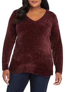 Plus Size V-Neck Chenille Sweater