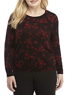 Plus Size Eden Rose Long Sleeve Sweater