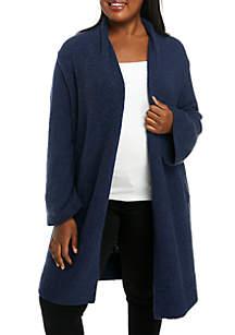 Plus Size Open Front Long Cardigan