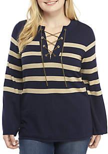 MICHAEL Michael Kors Plus Size Lurex Stripe Chain Sweater