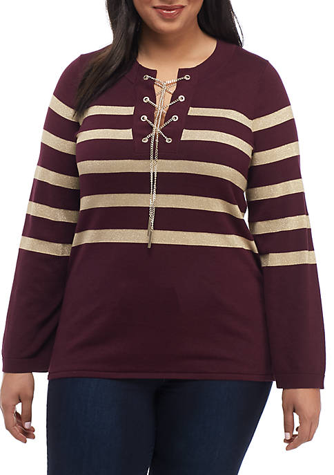 Plus Size Lurex Stripe Chain Sweater
