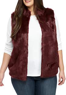 Plus Size Faux Fur Sweater Vest