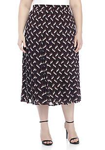 Plus Size Chevron Pleated Skirt