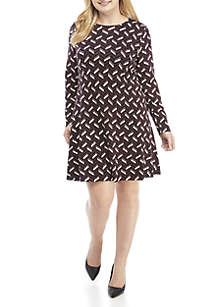 Plus Size Chevron Fit And Flare Sweater Dress