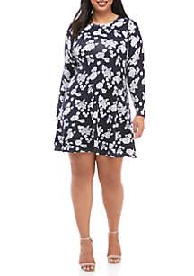 Plus Size Flower Ruffle Dress