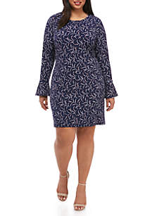 Plus Size Floral Bell Sleeve Flounce Dress