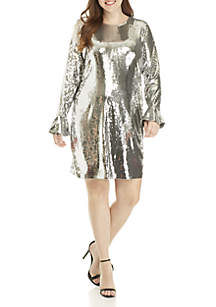 Plus Size Sequin Flounce Sleeve Dress