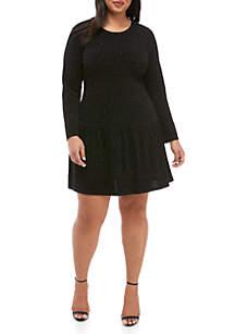 Plus Size Velvet Diamond Shirred Hem Dress