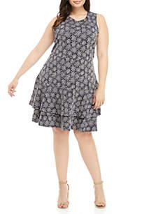 Plus Size Floral Double Ruffle Tier Dress